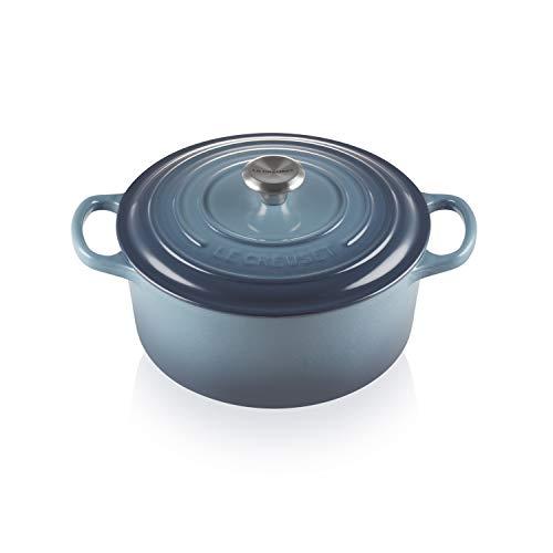 Le Creuset Cocotte en Fonte avec Couvercle, Ronde, bouton en acier inoxydable, Ø 22 cm, pour tous les types de Fours et Cuisinières (induction inclus), bleu (Marine)