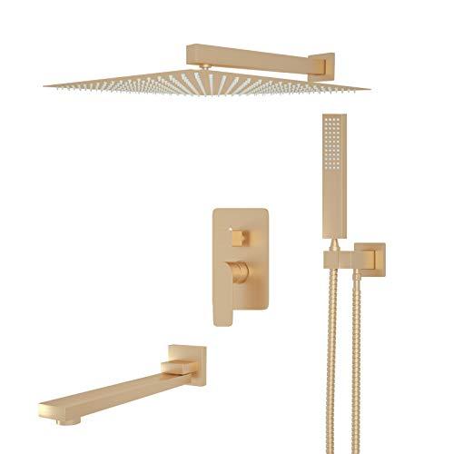 JUNSOTTOR Sistema de ducha dorado cepillado, 3 funciones, latón para