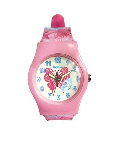 KIDDUS Reloj Educativo de Calidad para niña y niño. Analógico de Pulsera, con Ejercicios Time Teacher para Aprender a Leer y Decir la Hora. Mecanismo de Cuarzo japonés (Mariposa)