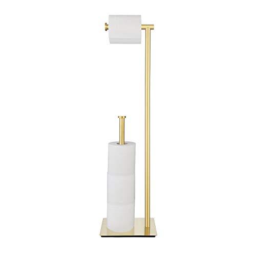 Amazon Brand - Umi Toilettenpapierhalter Freistehend Klopapierhalter WC Rollenhalter Edelstahl SUS304 Badezimmer Stand Papier Toilettenpapier Halter Gebürstet Messing, BPH286S1B-BZ