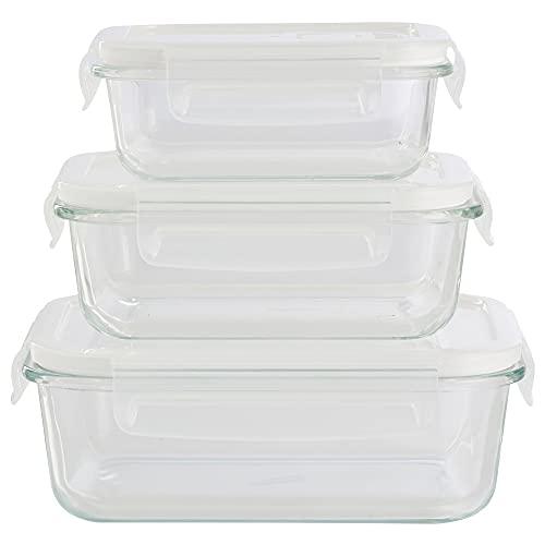 Recipientes de cristal para alimentos con cierre y válvula de salida de aire | 6 piezas (3 envases, 3 tapas Transparente) Herméticos Tapers cristal - Apto para lavavajilla, microondas, congelador