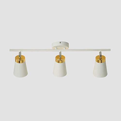 3 Lights Dimmable Track Lamps - Modern Spotlight Flexibly 90 ° Vertical Rotatable Light Head for Home Office & Private Studiodining Rooms Accent Lighting (Color : White)