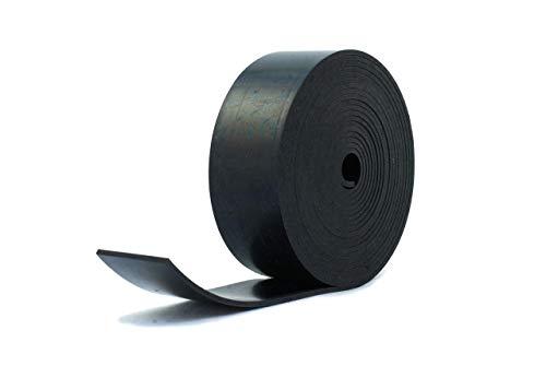 Bande de caoutchouc néoprène noir résistant, 50 mm de large x 3 mm d'épaisseur x 5 m de long