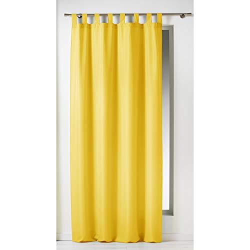 Douceur d'Intérieur Cortina con pasadores, 140 x 260 cm, poliéster, Color Amarillo, cerámica, 140x2x240 cm