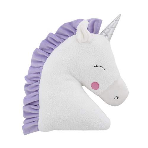 Little Love by NoJo Shaped Plush Sherpa Decorative Pillow, Unicorn, White, Lilac, Silver, Lavender