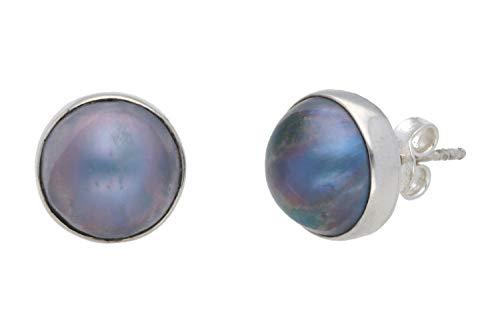 Pendientes de 12 mm con perla de Mabe, color gris azulado en plata 925