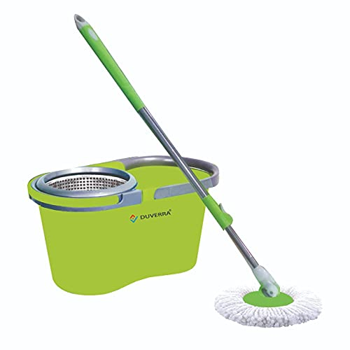 DUVERRA Spin Mop Stainless Steel Spinner Bucket Set Floor Cleaning Detachable Bucket Strong Water Absorption Microfiber Mop Heads (Beige)