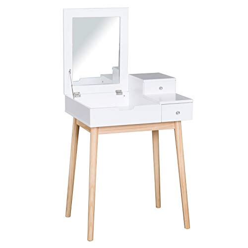 HOMCOM Coiffeuse Design scandinave Table de Maquillage Multi-rangements Miroir Pliable 60L x 50l x 86H cm pin et MDF Blanc