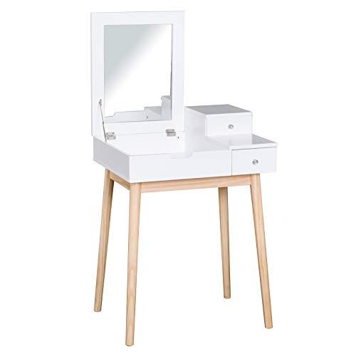 HOMCOM Schminktisch Skandinavisches Design Multi-Storage-Make-up-Tisch Klappspiegel 60L x 50W x 86H cm Kiefer und weißes MDF