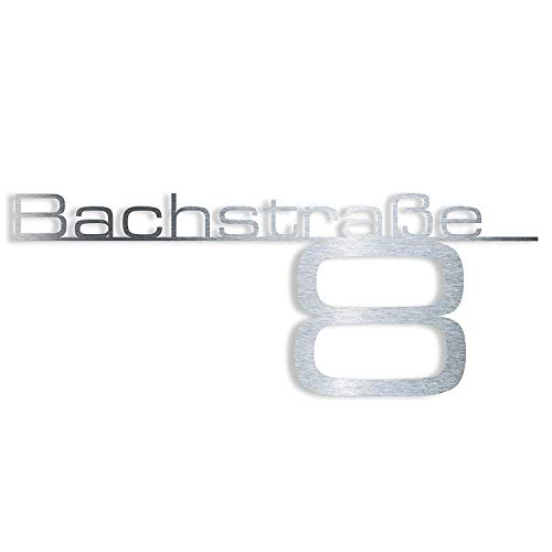 Metzler Design Hausnummernschild Türschild Namensplakette aus Edelstahl - mit Wunsch-Schriftzug Straßenname Hausnummer oder Name - Firmen-Schild - Anthrazit RAL 7016 - Edelstahl poliert (650 mm)