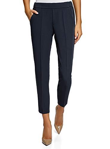oodji Ultra Damen Eng Zulaufende Hose mit Elastischem Bund, Blau, 36