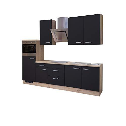 MMR Küchenzeile LONDON - mit E-Geräten - Glaskeramik-Kochfeld - 13-teilig - Hoch-Hängeschrank - Breite 270 cm - Anthrazit
