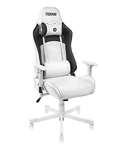 TEKNO Gaming Chair Racing Office Computer Chair Ergonomic Executive Desk Chair High Back Swivel Bonded Leather Adjustable Task Chair with Lumbar Support and Headrest for Home PC White