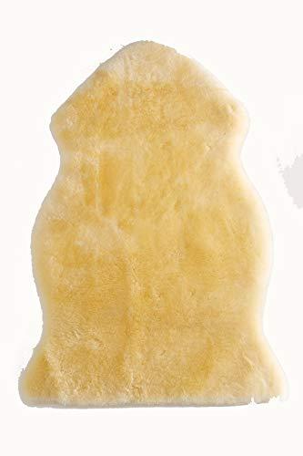 Merauno Manta de piel de cordero, para bebé, para salón, cochecito, asiento de coche, certificado Öko-Tex 80/90/100/120 cm, color dorado (natural/medical, 70-80 cm)