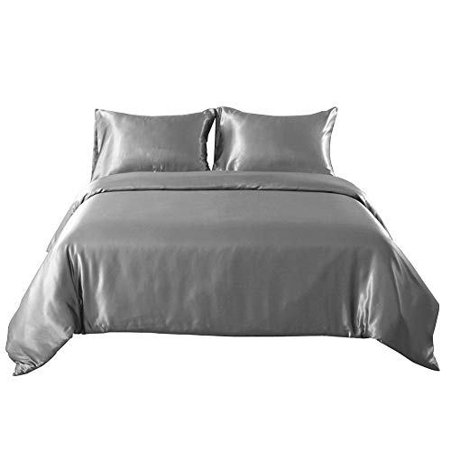 Hotniu Full Satin Silk Duvet Cover Sets - Soft Silky 3 Piece Comforter Cover Set - All Season, Shiny Vibrant Bedding Set With SHAM (King Size, Grey)