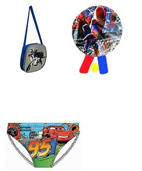 Kit de playa infantil bolsa nevera Batman + raquetas de playa Spiderman + disfraz Slip Cars Misto 3 aos