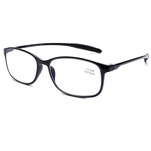 DOOViC Blaulichtfilter Computer Lesebrille Schwarz/Eckig Flexibel Anti Rutsch Brille mit Stärke für Damen/Herren 2,75