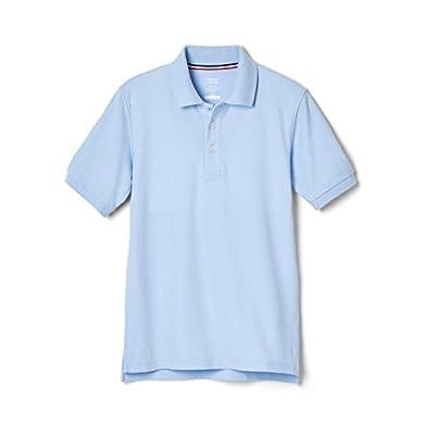 French Toast Boys' Big Short Sleeve Pique Polo Shirt (Standard & Husky), Light Blue, XL (14/16)