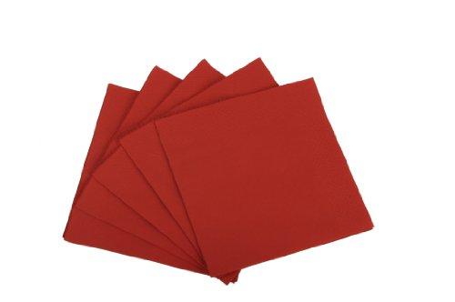 Funny Lot de 4 packs de 250 serviettes jetables triple épaisseur Pliage en 4 Rouge 33 x 33 cm