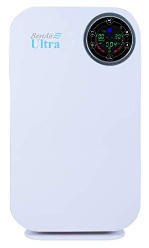BestAir ULTRA Luftreiniger Echter HEPA-Filter, Formaldehydfilter, Ionisator, für Zuhause, Büro, Praxis, Schule, filtert Schadstoffe, Viren und Bakterien aus der Luft, für Allergiker, 55 m²
