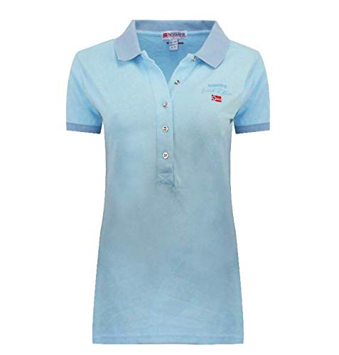 Geographical Norway Polo Kelodie Lady 100 % coton T-shirt femme ST4083F-GN-Bleu ciel - S