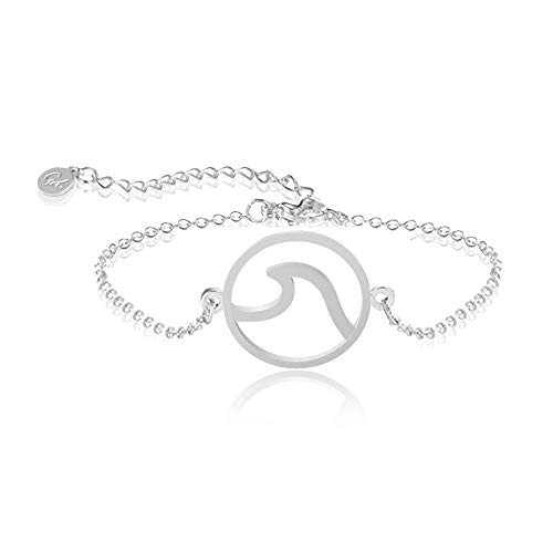 Good.Designs ® Pulsera Wave Ladies, Pulsera Ajustable con Onda oceánica en Plata, Oro y Rosa