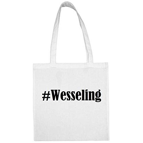 Tasche #Wesseling Größe 38x42 Farbe Weiss Druck Schwarz