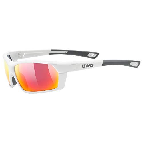 uvex Unisex– Erwachsene, sportstyle 225 Sportbrille, white mat/red, one size