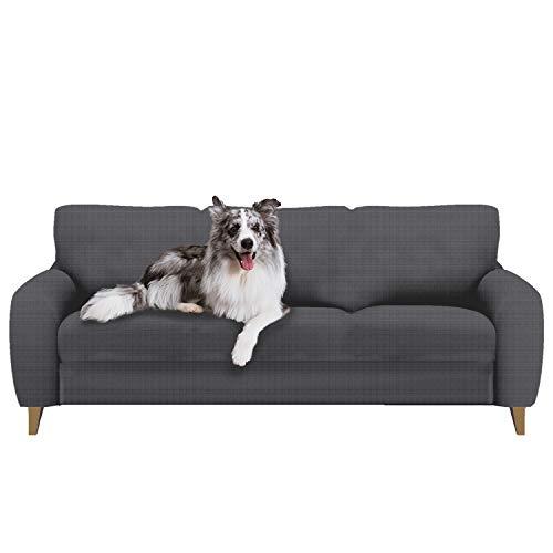 softan Sofabezug Sofa Überwürfe Elastische Stretch Spandex Stoff Sofaschoner Sofa Abdeckung, Grau, 3-sitzer