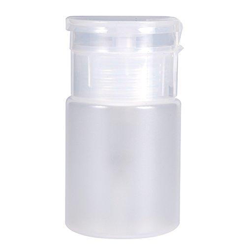 Bouteille de distributeur d'ongles, pompe nettoyant Bouteille de plastique vide pour dissolvant de vernis à ongles liquide - bouteille transparente 60ML(blanc)
