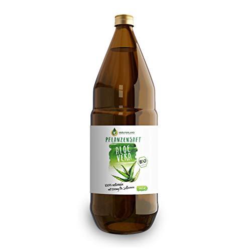 Kräuterland - Bio Aloe Vera Pflanzensaft 1L - 1200mg Aloverose Gehalt - 100% rein, handfiltriert, vegan, naturtrüb - Direktsaft aus Mexiko in Glasflasche