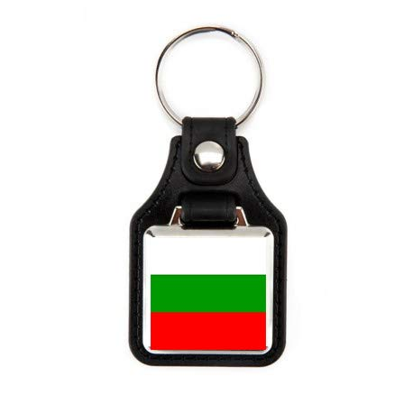 Schlüsselanhänger Fahne Bulgarienflagge Bulgarien-Flagge Länderlandschaften, quadratischer Schlüsselanhänger aus Kunstleder, robuster Schlüsselanhänger, elegantes Design (1 Stück)