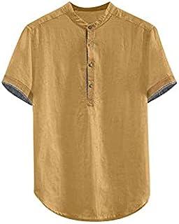 Wanxiaoyyyinnsdx Mens Henley Short Sleeve, Men's Baggy Solid Cotton Linen Short Sleeve Button Plus Size T Shirt Tops Blous...