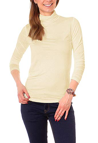 Easy Young Fashion Basic Damen Rollkragen Jersey Shirt Unterzieher Longsleeve Enganliegend Langarm Einfarbig One Size Sand