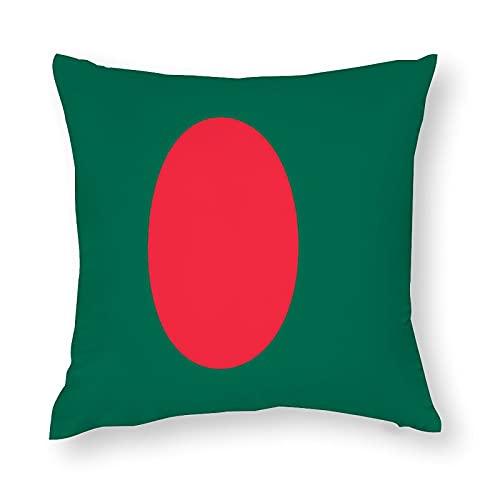 Kissenbezug mit Bangladesch Flagge, quadratisch, dekorativer Kissenbezug für Sofa, Couch, Zuhause, Schlafzimmer, drinnen & draußen, niedlicher Kissenbezug 45,7 x 45,7 cm