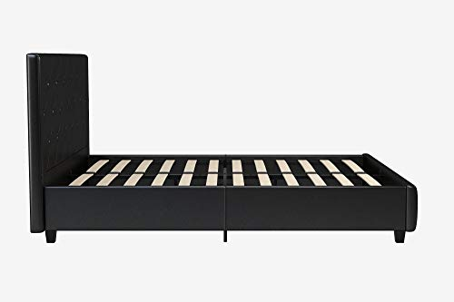 DHP Dakota Upholstered Faux Leather Platform Bed with Wooden Slat Support and Tufted Headboard...