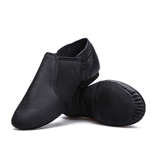 Zapatos de Baile Latino Ballet Mujer PU Cuero Comodos Adultos Zapatillas Baile Moderno Salon Salsa Jazz Gimnasia Negro