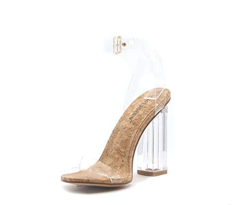 Cape Robbin Maria-2 Clear Chunky Block High Heels for Women, Transparent Strappy Open Toe Shoes Heels for Women - Cork Size 6.5