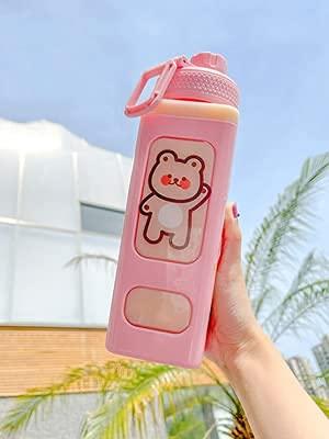 Cute Water Bottles with Straws,Large Kawaii Water Bottle with Straw and Sticker Kawaii Large Water Bottle for Womene (Pink,700ml)