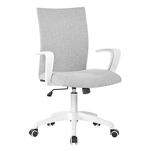 LIANFENG Office Chair Ergonomic Mid Back Swivel Chair Height Adjustable Desk Chair White Office Chair Computer Chair with Armrest Mid Size (Grey and White)