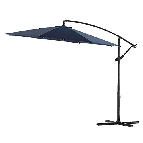 Bluu 10ft Patio Offset Umbrella Cantilever Umbrella Hanging Market Umbrella Outdoor Umbrellas with Crank & Cross Base (Navy Blue)