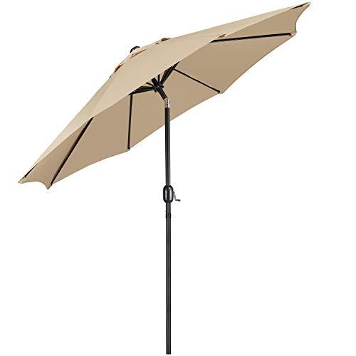 Yaheetech Sombrilla de Patio al Aire Libre Comercial Inclinable Parasol con Manivela para Patio Terraza Jardín Playa Balcón Altura 240cm Bronceado