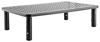 Premium PC Monitor & Laptop Stand with Sturdy Stable Black Metal Construction Fashionable Riser is Height Adjustable with Non-Skid Rubber Perfect for Computer Monitor iMac Stand or Computer Shelf