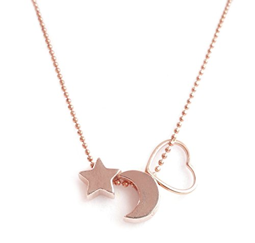 Ah! Jewellery Celebrity Style Star, Moon & Heart Outline Necklace. 18k Rose Gold over Sterling Silver 45cm Bead Ball Chain Included. Stamped 925. Stunning Symbolic Pendants!