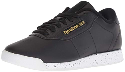 Reebok Women's Princess Sneaker, black/white/gold metallic, 7 M US
