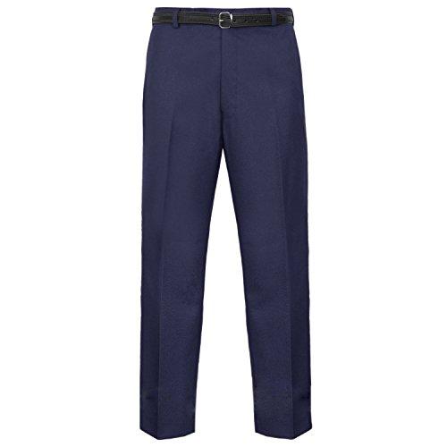 MyShoeStore Pantaloni formali da uomo, casual, ufficio, lavoro, casa, cintura, gamba dritta, tasche frontali piatte, cintura inclusa Blu mare 30W x 27L