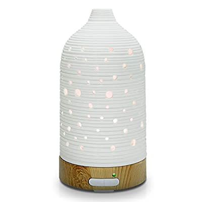Ultrasonic Essential Oil Diffuser, Cool Mist Aromatherapy Diffuser, 100ml Ceramic Diffuser with Waterless Automatic Shut-Off Protection&7 Color LED Light Cycle Changing for Home Yoga SPA (Hollow Out)