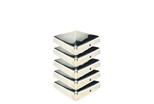 Gartenwelt Riegelsberger Premium Pfostenkappe 91x91 mm aus Edelstahl für Pfosten 9x9 cm Pyramide Zaunkappe Abdeckkappe 5 Stück
