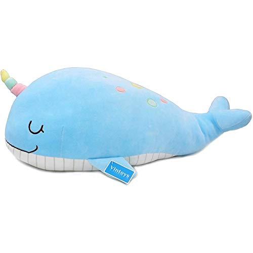 Ikpdbw El narval Unicornio Ballena Peluche Abrazo Almohada Animal pez Peluche Azul 60cm