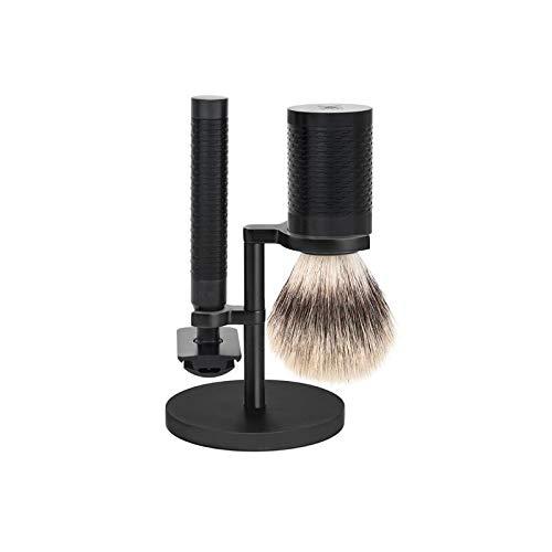 Mühle s31m96jet Set de rasage « ROCCA », 3 pièces, manche du rasoir et monture du blaireau monture inox revêtement DLC noir